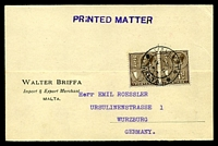 Lot 4111:1927 use of KGV ¼d brown pair on 'Printed Matter' card to Germany.