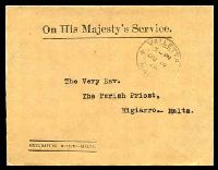 Lot 24845:1928 use of stampless OHMS cover from Emigration Office-Malta to Migiarro, cancelled at Valletta on JU14/28.