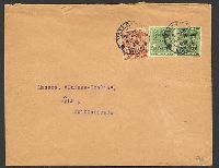 Lot 24846:1929 use of ½d x2 & 1½d opt 'Postage and Revenue' on cover to Switzerland, cancelled at Valletta on AP11/29, opened a little roughly.