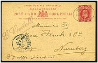 Lot 24839:1902-06 KEVII HG #6 1d carmine on buff, cancelled with oval 'VALLETTA/6.30PM 9JU03/MALTA' (A1).