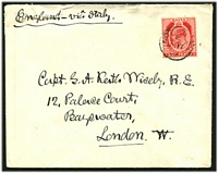 Lot 3888:Notabile: 'NOTABILE/E/JU17/07' on KEVII 1d red on cover to UK.
