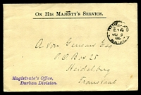Lot 4138 [1 of 2]:1906 use of stampless OHMS cover from Durban Magistrate's Office, cancelled on JU9/06.
