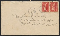 Lot 4017:1931 use of 2d S.S. Caribou (SG 180) on cover to USA, cancelled with unframed 'RIVERHEAD.HR.GRACE/DE15/31/NEWF'D' (B1).