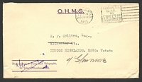 Lot 26000:1933 use of stampless OHMS cover from Dept Posts & Telegraph to USA, cancelled on SEP18/1933.