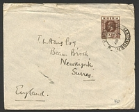 Lot 25968:1933 use of 2d chocolate KGV Die I on cover to UK, cancelled with double-circle 'MAIDUGERI/1MY/33/NIGERIA' (B1), double-circle 'JOS/3.45PM/3MY/33/[NIG]