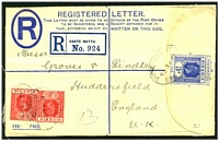 Lot 26027 [1 of 2]:1923-37 HG #C3 3d blue on white 'G. THOS. DE LA RUE & CO.' under flap size G, uprated with KGV 1d rose-carmine pair, cancelled with oval '[REGIST]ERED/12FE25/[EBU]