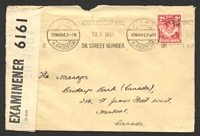 Lot 4492:1941 use of KGVI 2d carmine-red on cover to Canada, cancelled with Kitwe machine on 17MAR41, 'P.C. 90/OPENED BY/EXAMINER 6161' label attached.