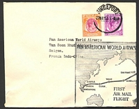 Lot 24944:1953 Pan Am first flight from Singapore to San Francisco, intermediate cover to Saigon, 'SAIGON R.P/13.00/28-5/1953/VIETNAM' machine arrival.