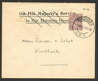 Lot 27783:1922 use of South Africa 2d on local cover, cancelled with double-circle 'WINDHOEK/2MAR22/1215PM/S.W.A' (A1).