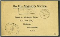 Lot 4113:1947 use of stampless OHMS cover to USA cancelled with 'ST.HELENA/C/NO12/47' (A1+), boxed 'OFFICIAL/    PAID' (A1) & oval 'POST OFFICE/[crown]/ST HELENA' (B1) both on face.