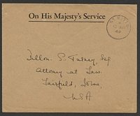Lot 4527:1949 use of stampless OHMS cover to USA, cancelled with ST. KITTS/*/12AP/49' (B1).
