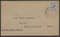 Lot 4207:1934 use of 30c bright blue & black on cover to USA, cancelled with double-circle 'KIGOM[A]