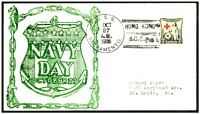 Lot 28669:1935 use of 2c Red Cross cancelled with 'U.S.S./OCT/27/A.M./1935/SACRAMENTO. - HONG KONG/B.C.C.' (B1), on Navy Day cover.