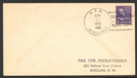 Lot 28417:1941 use of 3c Washington cancelled with 'U.S.S./APR/15/1941/A.M./MINDANAO. - SOUTH CHINA/HONG KONG' (B1), on addressed cover.