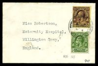 Lot 29105:1932? use of POSTAGE ½d green & 2½d purple/pale yellow on mini-cover to UK.