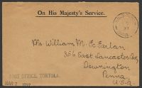 Lot 20476:1937 use of stampless OHMS cover to USA, cancelled with 'ROAD-TOWN/FE28/37/TORTOL[A V.I]