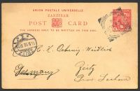 Lot 4523:1897 HG #6a 1a red on buff, to Germany, cancelled with squared-circle 'ZANZIBAR/26AU/98' (A1).