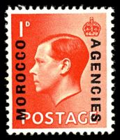 Lot 25577:1936-37 'Morocco Agencies' on GB 1d scarlet with MOROCCO 15¼mm long, SG #75a.