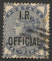 Lot 20712:1882-1901 I.R. OFFICIAL: SG #O5 ½d slate-blue, Cat £22.