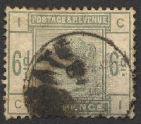 Lot 3557:1883-84 Lilacs & Greens SG #194 6d dull green [CI], Cat £200, messy pmk.