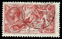 Lot 4061:1918-19 Sea Horses Bradbury, Wilkinson Printing SG #416 5/- rose-red, Cat £90, light cds.