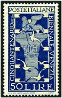 Lot 3845:1949 Venice Biennale SG #724 50L dark blue & pale blue, Cat £40, hinge remainder.