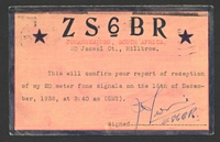 Lot 25182 [2 of 2]:1939 use of reply half (back is used as a ham radio QSL card) of USA 3c+3c carmine on cream (HG #53), cancelled at Johannesburg.