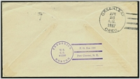 Lot 28407 [2 of 2]:1937 use of 3c Rhode Island on illustrated cover, cancelled with 'U.S.S./APR/19/1937/A.M./CASE - HAMILTON/BERMUDA' (A1).