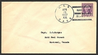 Lot 28408:1937 use of 3c Washington on plain cover, cancelled with 'U.S.S./APR/21/1937/A.M./CASE - HAMILTON/BERMUDA' (A1).