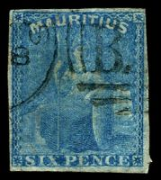 Lot 3955:1859-61 Britannia SG #32 6d blue 4-margins, Cat £55.