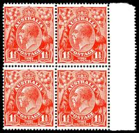Lot 2836:1½d Red Die II - BW #91 marginal block of 4, Cat $100+.