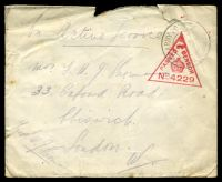 Lot 23390:1917 OAS cover to London cancelled with 'ARMY POST OFFICE/A/4FE/17/R.60.