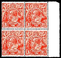 Lot 2257:1½d Red Die II BW #91 marginal block of 4, Cat $100+.