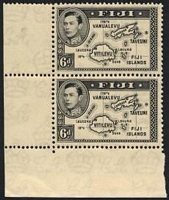 Lot 3719:1938-55 KGVI Pictorials SG #260 6d black Die I corner pair, Cat £120+, gum is toned.