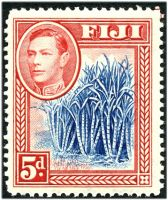 Lot 3430:1938-55 KGVI Pictorials SG #258 5d blue & scarlet Sugar Cane, Cat £42, short corner perf.