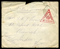 Lot 4171:1917 OAS cover to London cancelled with 'ARMY POST OFFICE/A/4FE/17/R.60.