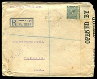 Lot 22502 [1 of 2]:1919 use of ½d & 4d on registered cover, 'OPENED BY/CENSOR./428' label at right, bi-lingual double-circle 'TEHERAN (DEPART)/8V19/' (A2) arrival on back, cover is quite spotty.
