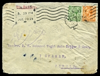 "Lot 22505 [1 of 2]:1921 use of ½d & 2d Die I on cover, endorsed ""Via Bushire"", hexagonal 'T/?/L' on ½d, bi-lingual double-circle 'ISFAHAN.NO2/20IX21/' (B1) arrival a few small faults."