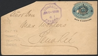 Lot 4105:1895 Arms Surcharge HG #B8 6c on 5c blue with 'WATERLOW & SONS, LIMITED, LONDON WALL, LONDON' 1½x49mm imprint, cancelled with violet double-octagon 'CORREOS/JUN8-1899/4 T/PANZOS' (A1), TLC has been cut off, indicating the envelope only contains printed papers.