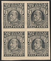 Lot 4411:1909-12 KEVII Typo ½d KEVII black plate proof block of 4, thinned.
