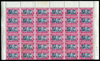 Lot 4162:1938 Voortrekker Commemoration SG #80 marginal block of 18 pairs (6x6), Cat £90+, with blue sheet number, a few tone spots.