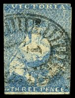 Lot 2350:1850-53 Half-Length Ham Altered 3rd State SG #14 3d blue 2½-margins (Type 11), Cat £65, small defect on back.