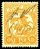 Lot 2359:1884-96 Stamp Duty Typo Wmk 1st V/Crown Perf 13 SG #262a £1 orange on yellow P12½, Cat £55, mss 1884 cancel.