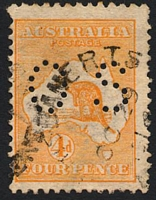Lot 138:4d Orange BW #15bb perf small 'OS', Cat $200, repaired BLC.