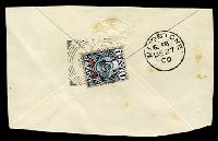 Lot 28875:1900 use of 1a (SG 189) on large piece of back of cover to UK cancelled with squared-circle Zanzibar, odd tonespots not affecting stamps.