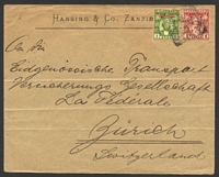 Lot 28876 [1 of 2]:1903 use of ½a & 2a (SG #178,91) on registered cover to Switzerland, cancelled with squared-circle Zanzibar of 7AU/03, 'ADEN/AU16/03' (A2) backstamp, a few creases.