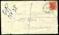 "Lot 1003 [1 of 2]:1948 cover with 2½d only, cancelled with 'TUMBLONG/28JA48/N.S.W' (C1), mss ""OR/No28"" (Officially Registered - presumably the letter contained cash), opened-out, a bit tatty."