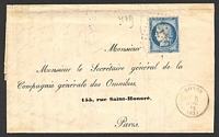 Lot 3486 [1 of 2]:1873 use of 25c blue Ceres on entire to Paris, cancelled with light large '479' (B1-), 'BELLOM/?|5/NOV/73/(62)' (B1), double-circle 'CLE[MECY ]