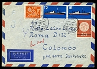 Lot 19388:1957 use of 20p Posthorn & Tulip, 20p Aschaffenburg Millennium & 15p Ship pair on air cover to Colombo to catch passenger on ship.