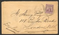 Lot 4463:1896 use of 5d dull purple & mauve (SG #119, Cat £14 x4) to England, cover a little bit soiled.